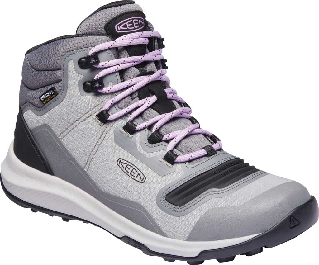 Women's KEEN Tempo Flex Mid Waterproof Hiking Boot, Steel Grey/African Violet, large, image 1