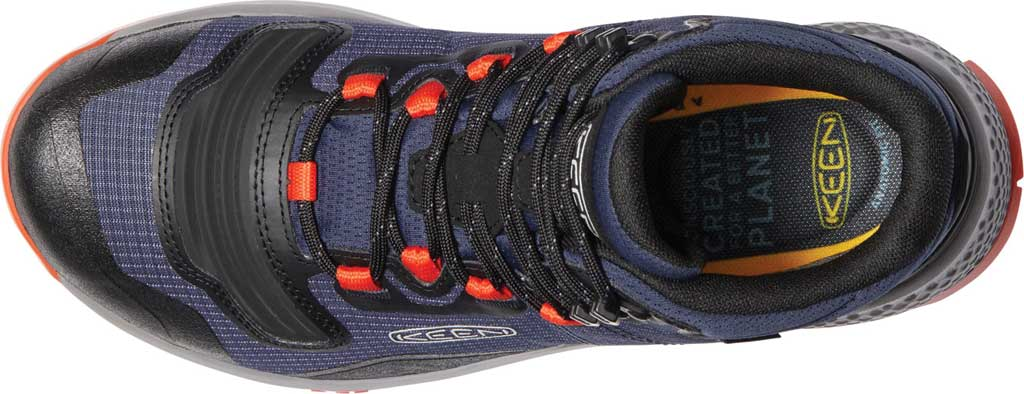 Men's Keen Tempo Flex Mid Waterproof Hiking Boot, Black Iris/Orange, large, image 3