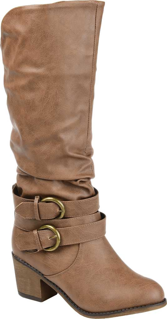 Women's Journee Collection Late Slouch Boot, Taupe, large, image 1