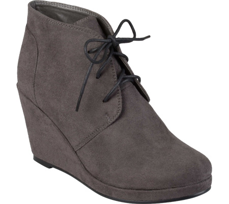 Women's Journee Collection Enter Wedge Bootie, Grey, large, image 1