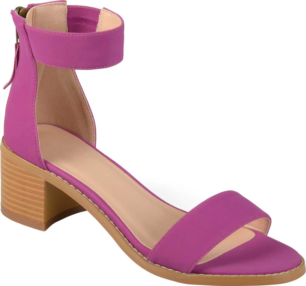 Women's Journee Collection Percy Ankle Strap Heeled Sandal, Plum Faux Nubuck, large, image 1