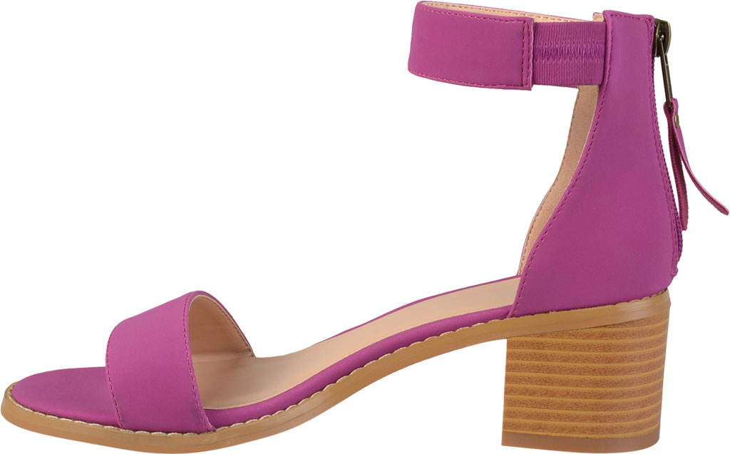Women's Journee Collection Percy Ankle Strap Heeled Sandal, Plum Faux Nubuck, large, image 3
