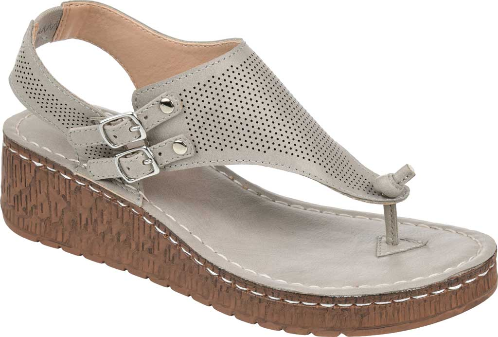 Women's Journee Collection McKell Wedge Thong Sandal, Grey Perforated Faux Leather, large, image 1