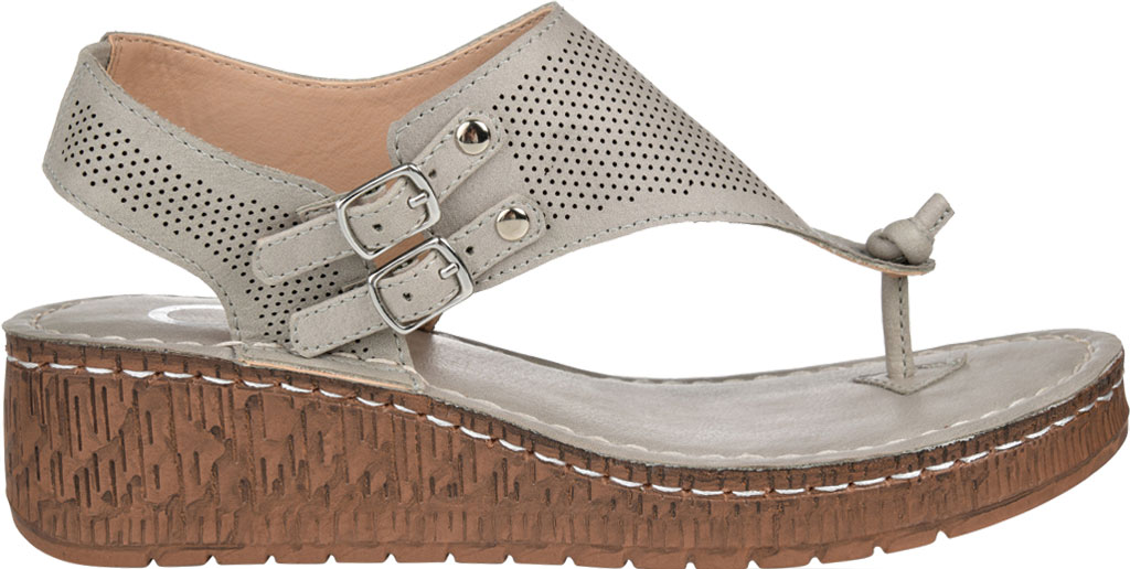 Women's Journee Collection McKell Wedge Thong Sandal, Grey Perforated Faux Leather, large, image 2