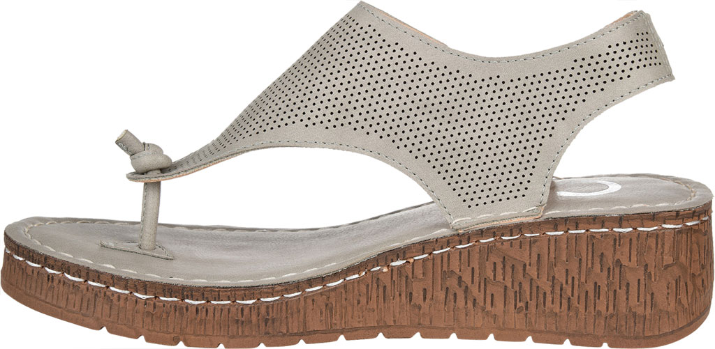 Women's Journee Collection McKell Wedge Thong Sandal, Grey Perforated Faux Leather, large, image 3