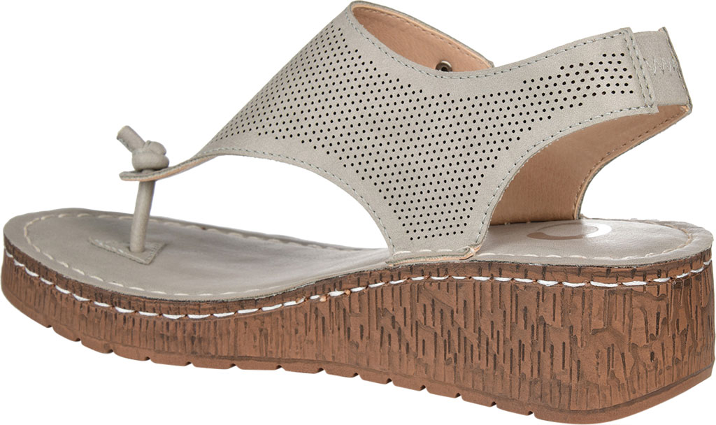 Women's Journee Collection McKell Wedge Thong Sandal, Grey Perforated Faux Leather, large, image 4