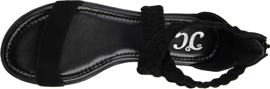 Women's Journee Collection Lucinda Ankle Strap Flat Sandal, Black Microsuede Fabric, large, image 5