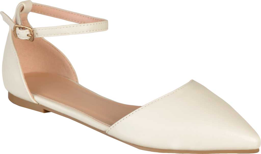 Women's Journee Collection Reba Ankle Strap Flat, Bone Faux Leather, large, image 1