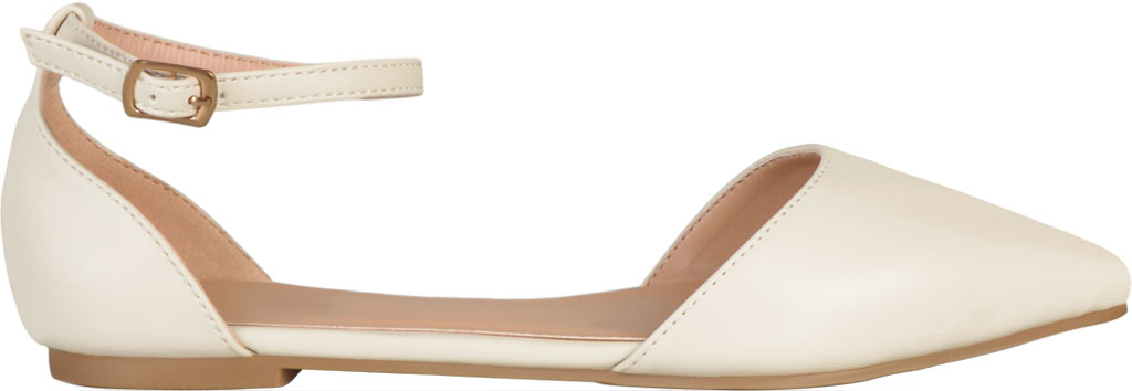 Women's Journee Collection Reba Ankle Strap Flat, Bone Faux Leather, large, image 2