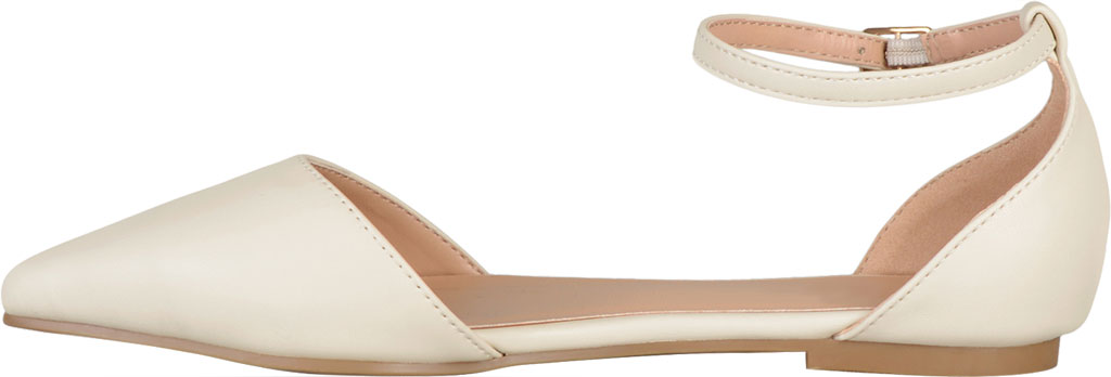 Women's Journee Collection Reba Ankle Strap Flat, Bone Faux Leather, large, image 3