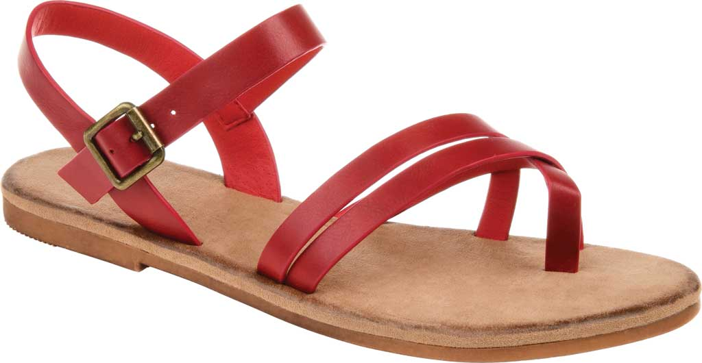 Women's Journee Collection Vasek Flat Thong Sandal, Red Faux Leather, large, image 1
