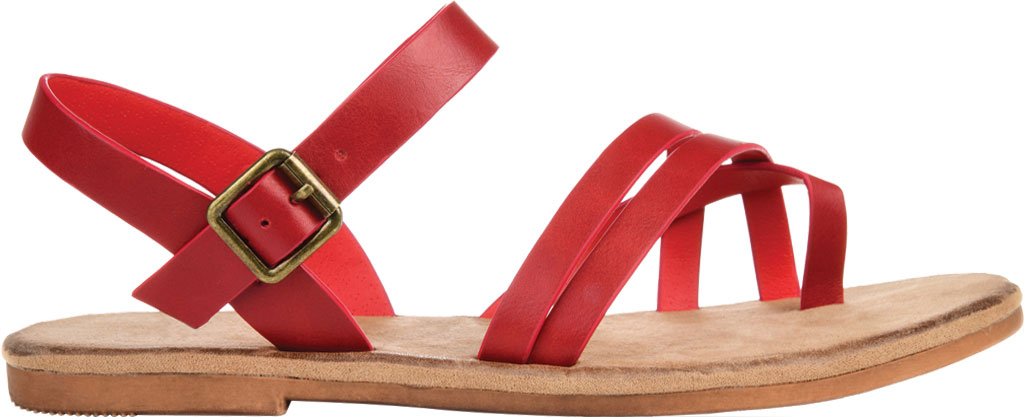 Women's Journee Collection Vasek Flat Thong Sandal, Red Faux Leather, large, image 2