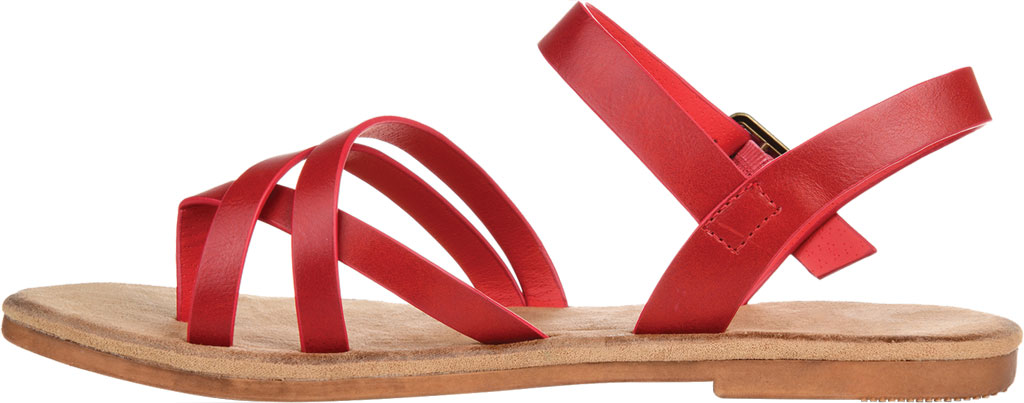 Women's Journee Collection Vasek Flat Thong Sandal, Red Faux Leather, large, image 3