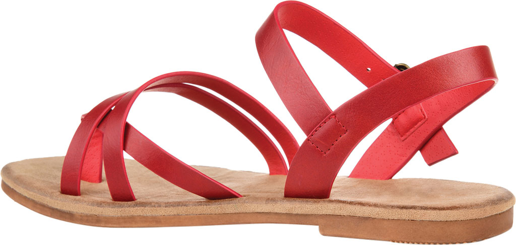 Women's Journee Collection Vasek Flat Thong Sandal, Red Faux Leather, large, image 4