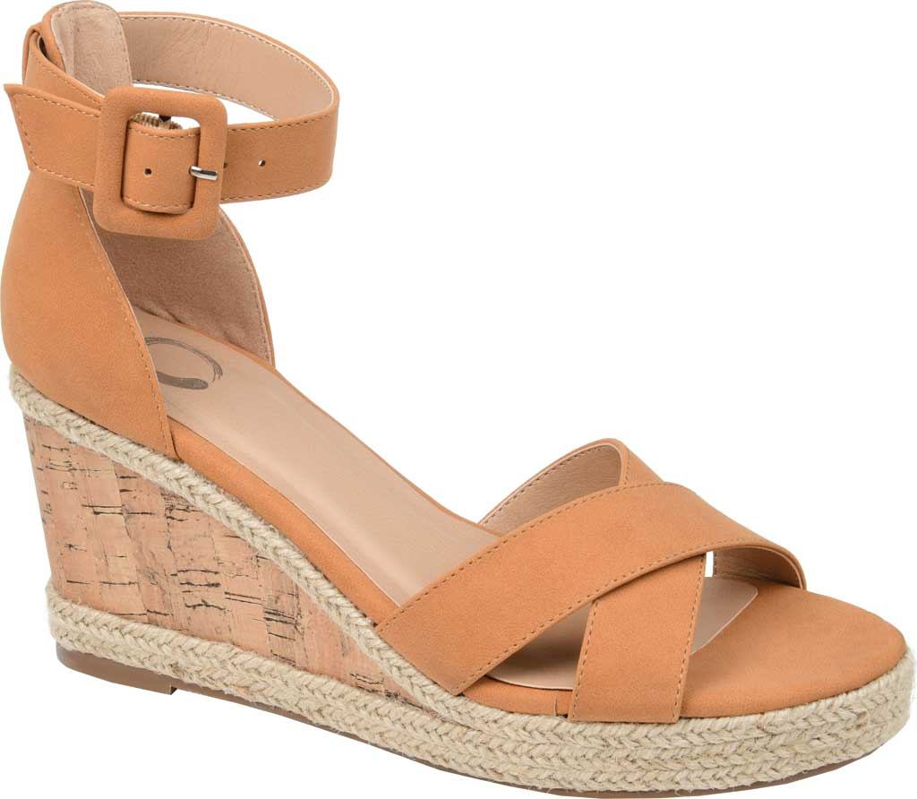 Women's Journee Collection Telyn Ankle Strap Wedge Sandal, Tan Faux Leather, large, image 1