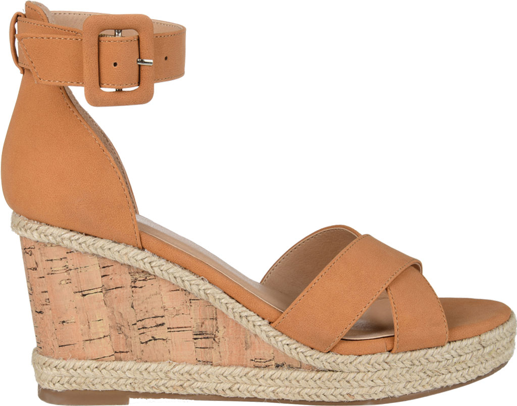 Women's Journee Collection Telyn Ankle Strap Wedge Sandal, Tan Faux Leather, large, image 2