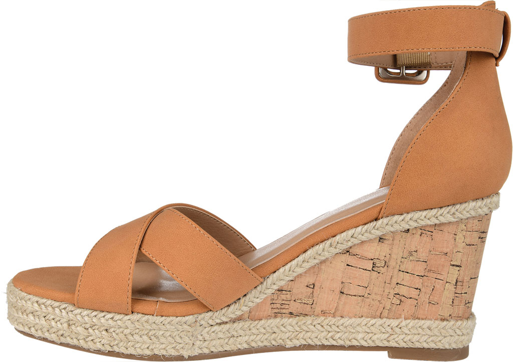 Women's Journee Collection Telyn Ankle Strap Wedge Sandal, Tan Faux Leather, large, image 3