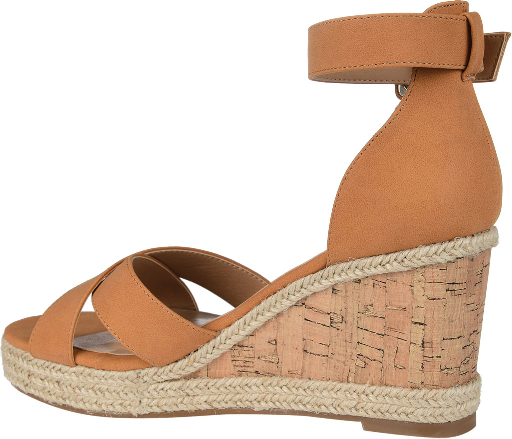 Women's Journee Collection Telyn Ankle Strap Wedge Sandal, Tan Faux Leather, large, image 4