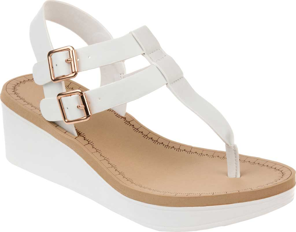 Women's Journee Collection Bianca Wedge Thong Sandal, White Faux Leather, large, image 1
