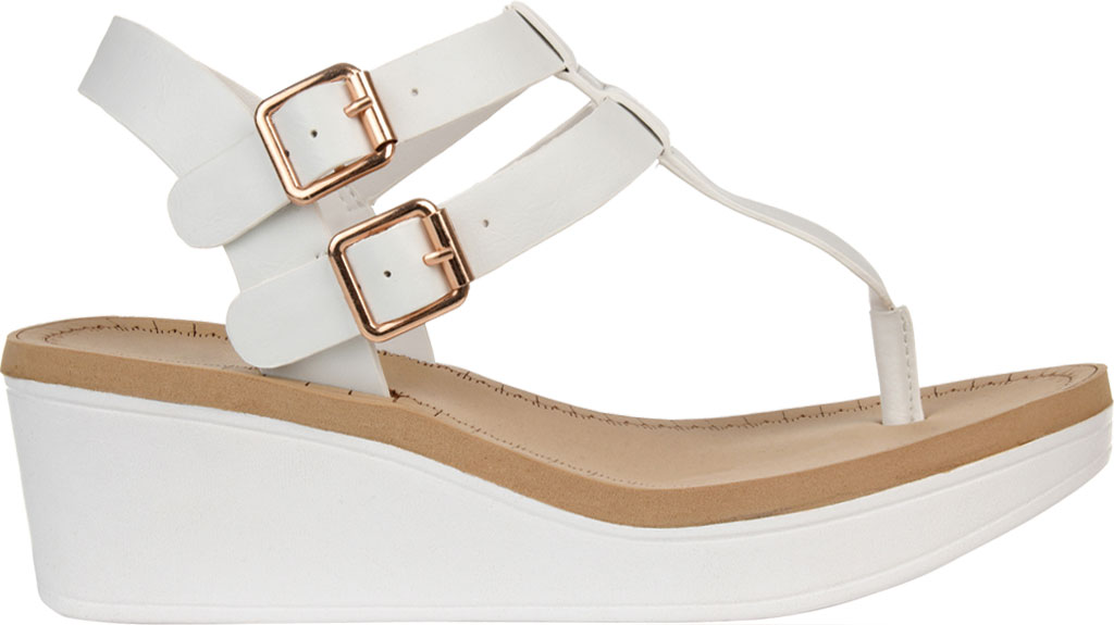 Women's Journee Collection Bianca Wedge Thong Sandal, White Faux Leather, large, image 2