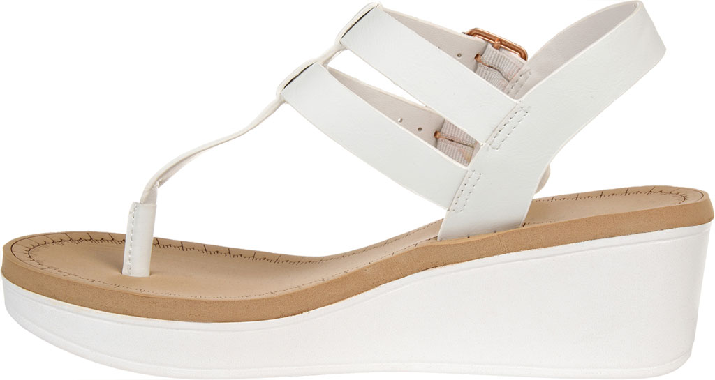 Women's Journee Collection Bianca Wedge Thong Sandal, White Faux Leather, large, image 3