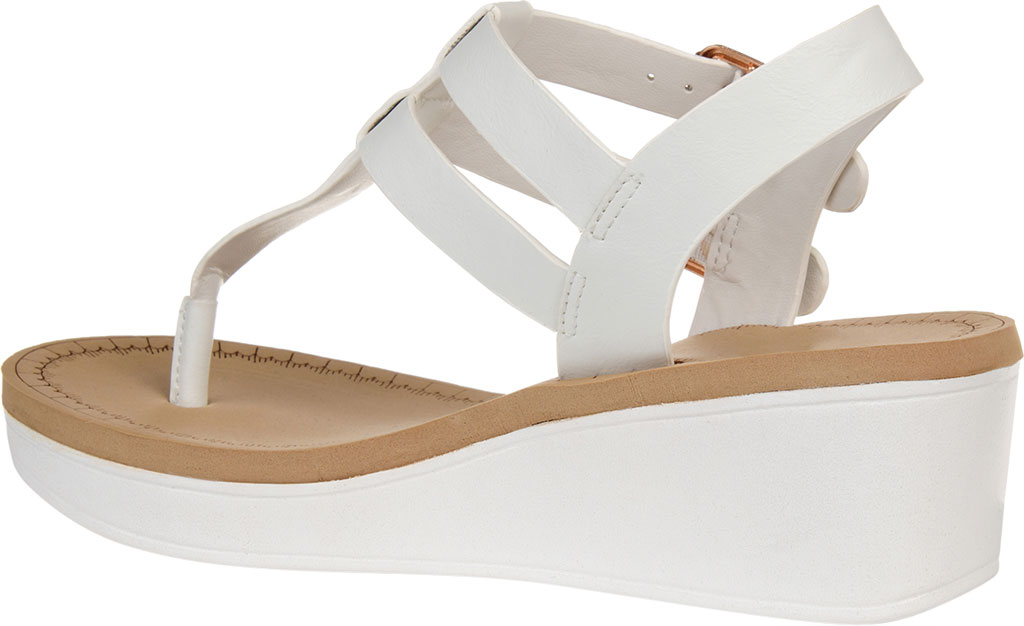 Women's Journee Collection Bianca Wedge Thong Sandal, White Faux Leather, large, image 4