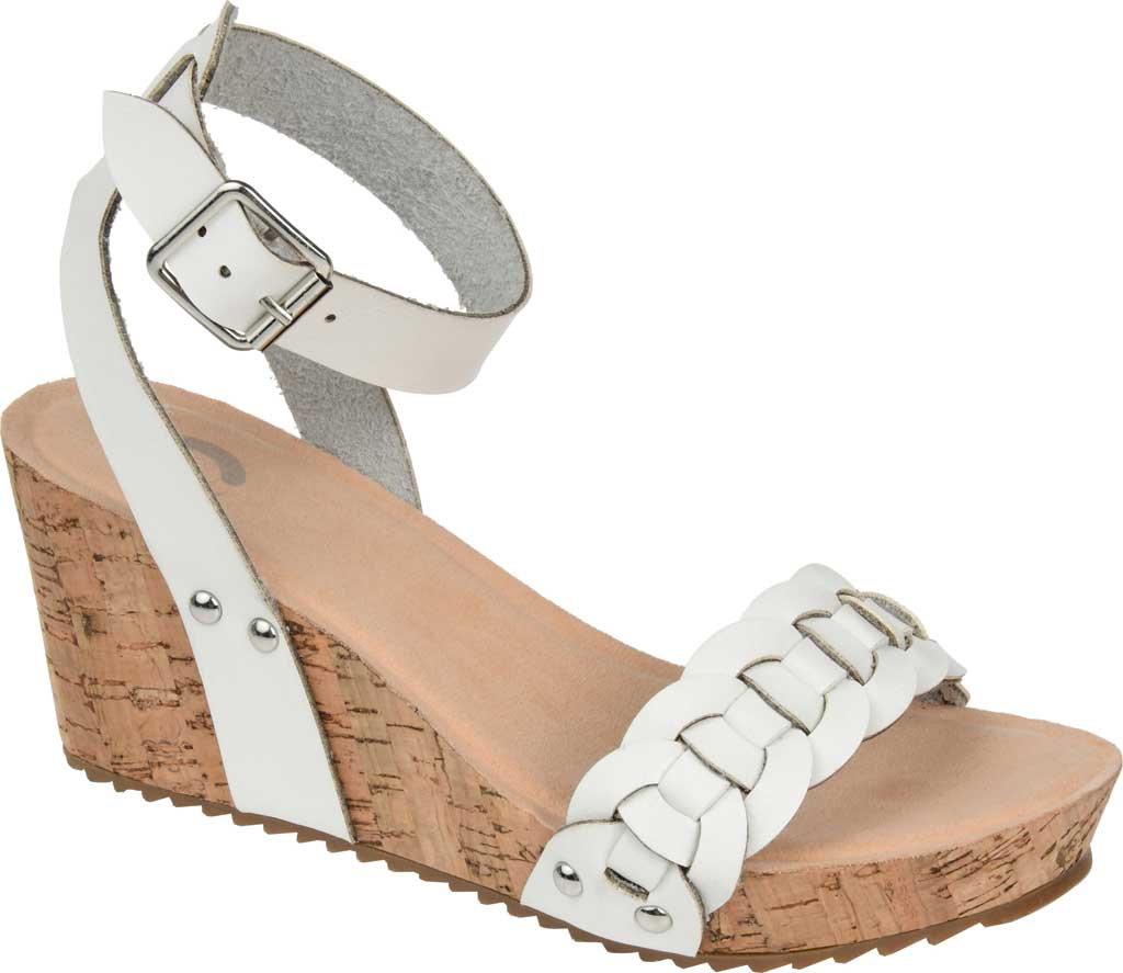 Women's Journee Collection Brynklee Ankle Strap Wedge Sandal, White Faux Leather, large, image 1