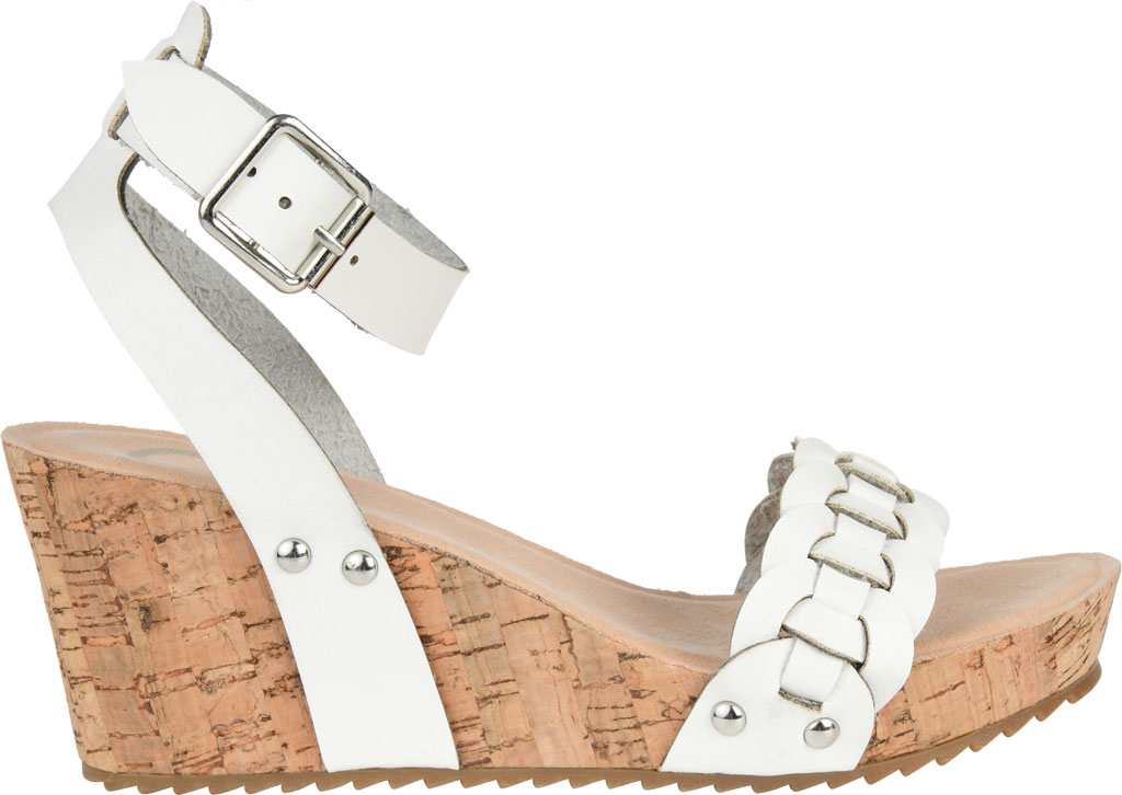 Women's Journee Collection Brynklee Ankle Strap Wedge Sandal, White Faux Leather, large, image 2