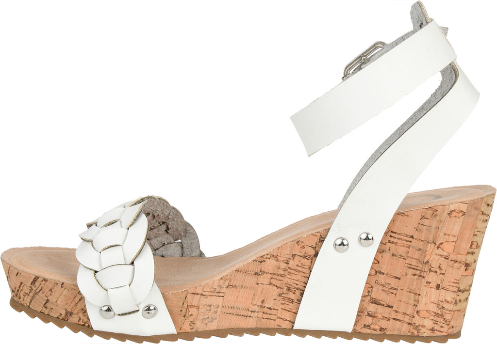 Women's Journee Collection Brynklee Ankle Strap Wedge Sandal, White Faux Leather, large, image 3