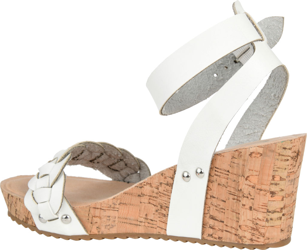 Women's Journee Collection Brynklee Ankle Strap Wedge Sandal, White Faux Leather, large, image 4
