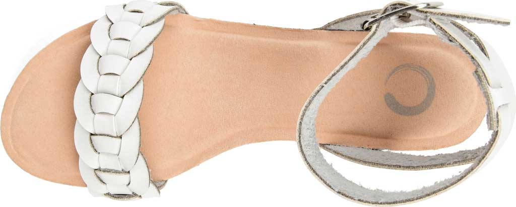 Women's Journee Collection Brynklee Ankle Strap Wedge Sandal, White Faux Leather, large, image 5