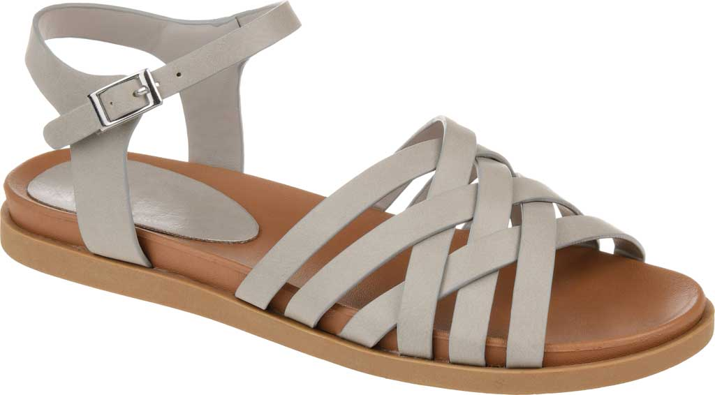 Women's Journee Collection Kimmie Strappy Sandal, Grey Faux Leather, large, image 1