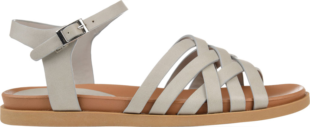 Women's Journee Collection Kimmie Strappy Sandal, Grey Faux Leather, large, image 2