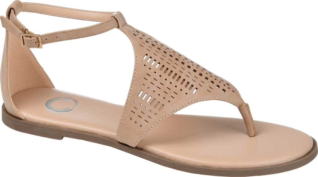 Women's Journee Collection Niobi Ankle Strap Thong Sandal, Taupe Perforated Faux Leather, large, image 1