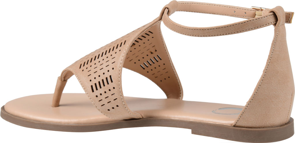Women's Journee Collection Niobi Ankle Strap Thong Sandal, Taupe Perforated Faux Leather, large, image 4