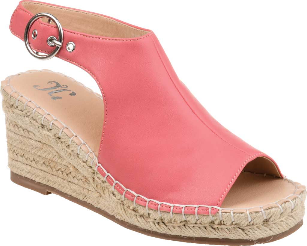 Women's Journee Collection Crew Espadrille Wedge Sandal, Coral Faux Leather, large, image 1