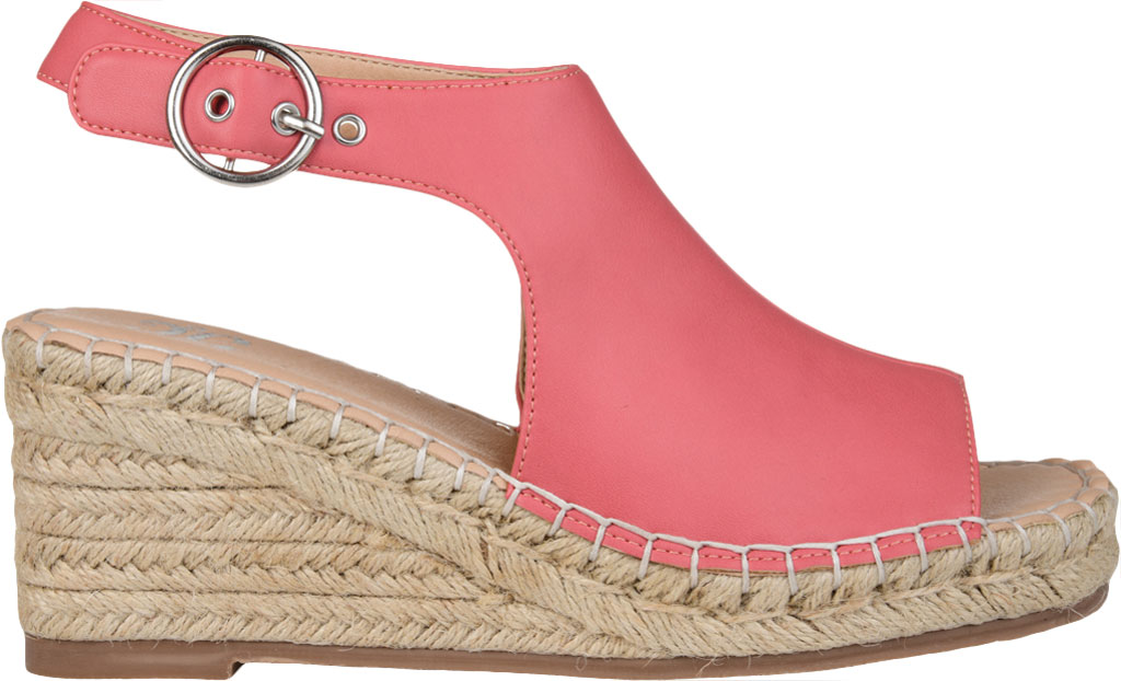Women's Journee Collection Crew Espadrille Wedge Sandal, Coral Faux Leather, large, image 2