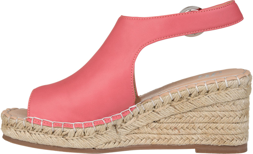 Women's Journee Collection Crew Espadrille Wedge Sandal, Coral Faux Leather, large, image 3