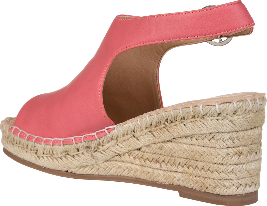 Women's Journee Collection Crew Espadrille Wedge Sandal, Coral Faux Leather, large, image 4