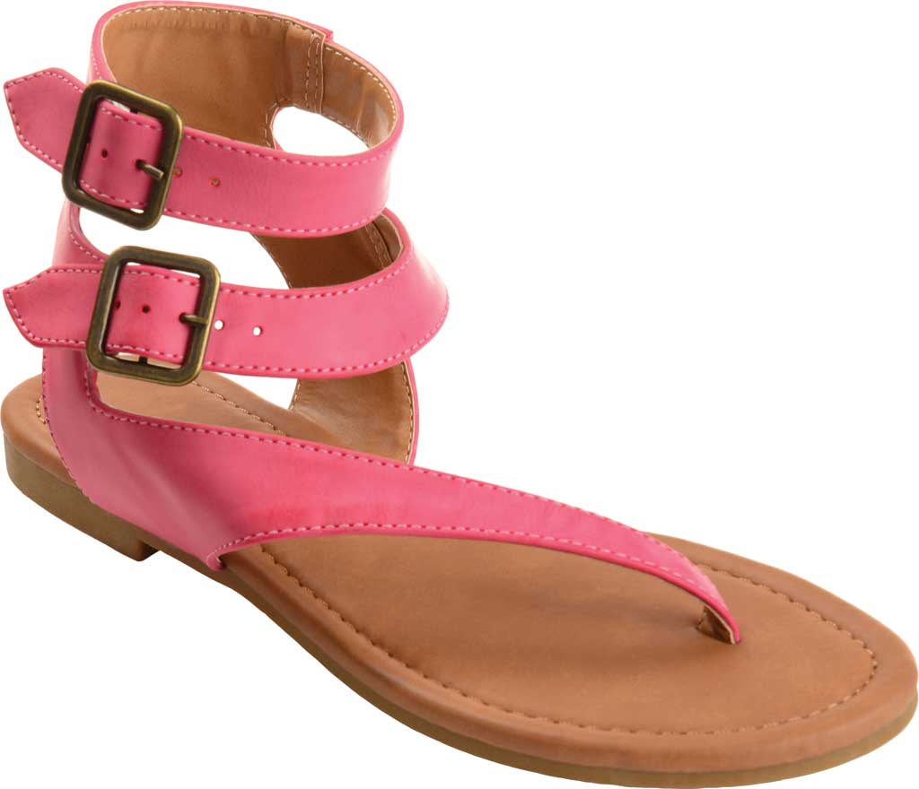 Women's Journee Collection Kyle Ankle Strap Thong Sandal, Pink Faux Leather, large, image 1
