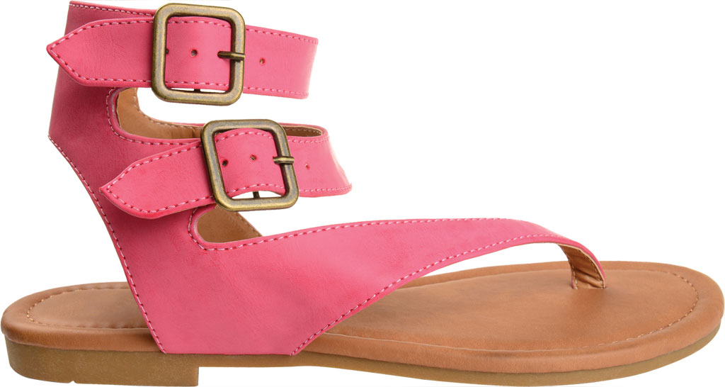 Women's Journee Collection Kyle Ankle Strap Thong Sandal, Pink Faux Leather, large, image 2