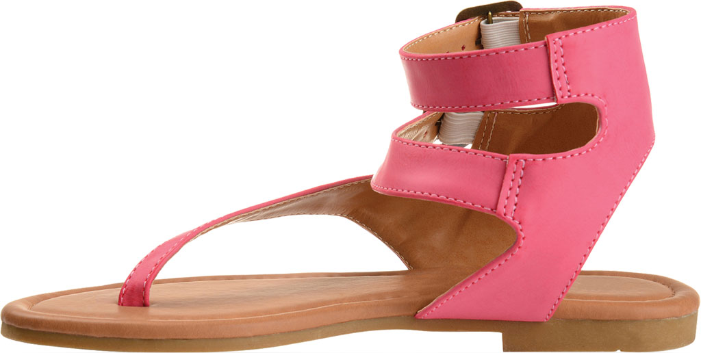 Women's Journee Collection Kyle Ankle Strap Thong Sandal, Pink Faux Leather, large, image 3