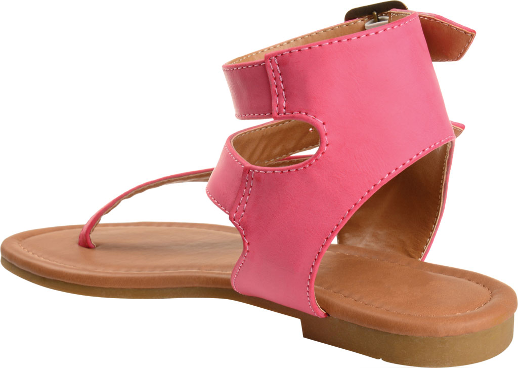 Women's Journee Collection Kyle Ankle Strap Thong Sandal, Pink Faux Leather, large, image 4