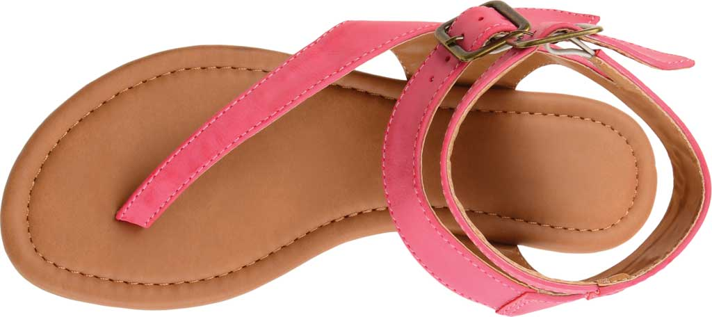 Women's Journee Collection Kyle Ankle Strap Thong Sandal, Pink Faux Leather, large, image 5