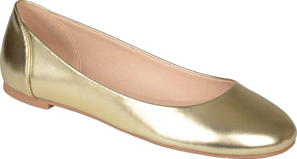 Women's Journee Collection Kavn Ballet Flat, Gold Faux Leather, large, image 1