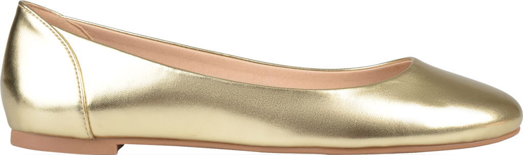 Women's Journee Collection Kavn Ballet Flat, Gold Faux Leather, large, image 2