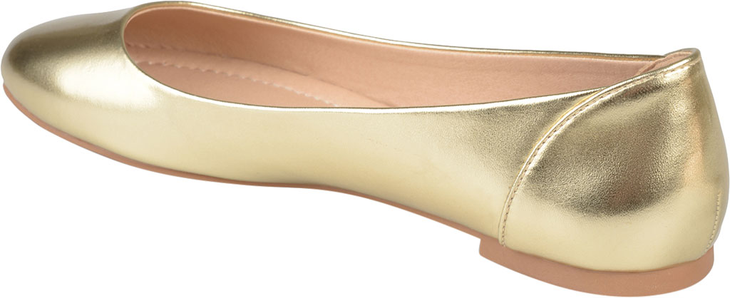 Women's Journee Collection Kavn Ballet Flat, Gold Faux Leather, large, image 4