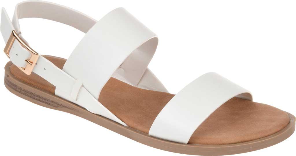Women's Journee Collection Lavine Flat Sandal, White Faux Leather, large, image 1
