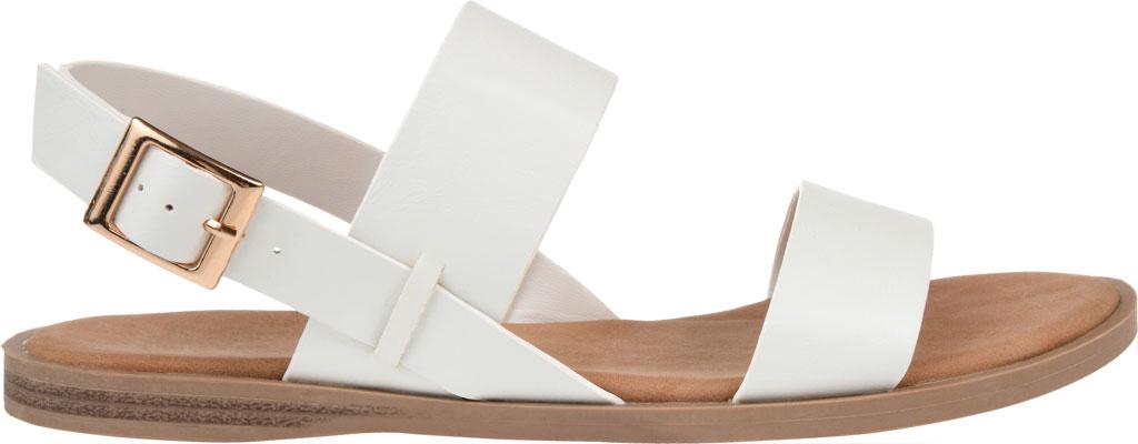 Women's Journee Collection Lavine Flat Sandal, White Faux Leather, large, image 2