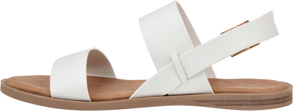 Women's Journee Collection Lavine Flat Sandal, White Faux Leather, large, image 3